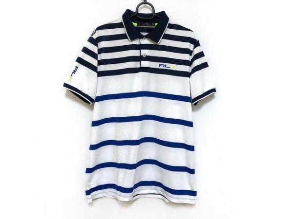 ラルフローレン 半袖ポロシャツ サイズL メンズ 白×ネイビー×マルチ ボーダー
