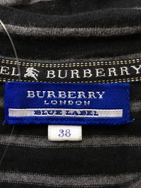 バーバリーブルーレーベル 半袖カットソー サイズ38 M レディース美品  黒×グレー