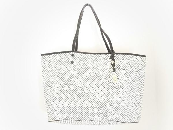 コールハーン トートバッグ美品  白×黒×グレー PVC(塩化ビニール)×レザー