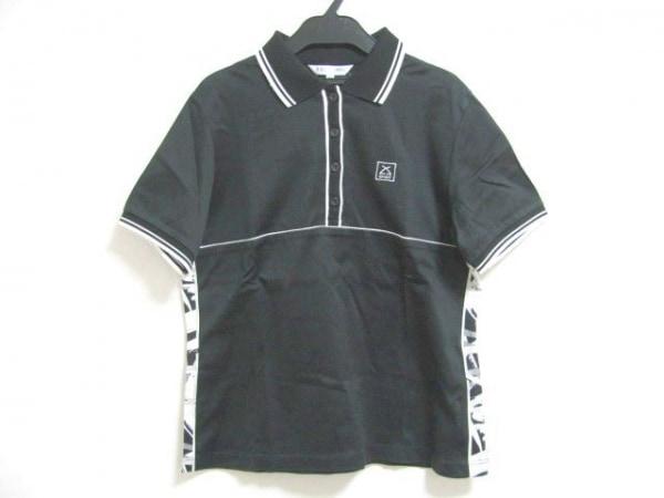 LEONARD(レオナール) 半袖ポロシャツ サイズ42 L レディース 黒×白×グレー