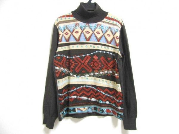 レオナール 長袖セーター サイズL レディース ダークブラウン×レッド×マルチ