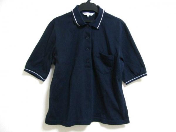 LEONARD(レオナール) 半袖ポロシャツ サイズ42 L レディース ネイビー×白