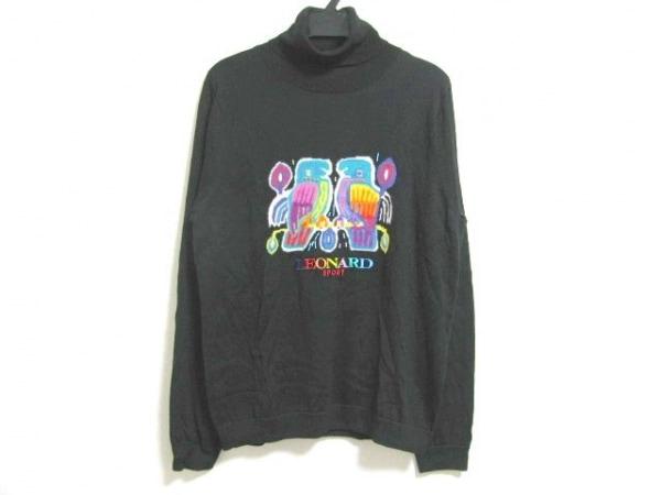 LEONARD(レオナール) 長袖セーター サイズ42 L レディース 黒×グリーン×マルチ