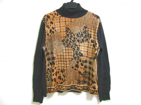 LEONARD(レオナール) 長袖セーター サイズL レディース 黒×ライトブラウン