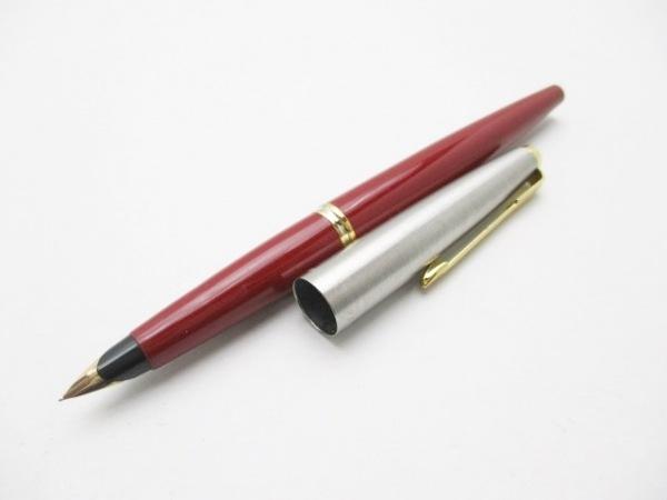 パーカー 万年筆 シルバー×ゴールド×レッド インクなし 金属素材×プラスチック
