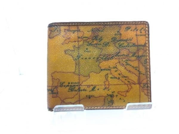 プリマクラッセ 2つ折り財布 ブラウン×ダークグリーン×黒 地図