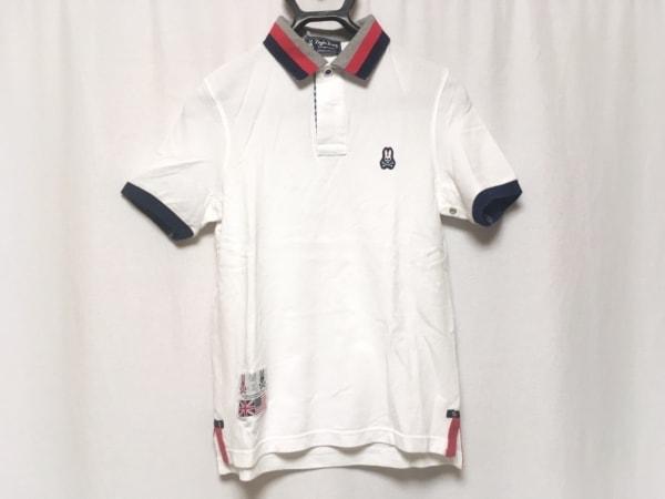 サイコバニー 半袖ポロシャツ サイズS メンズ美品  白×ダークネイビー×マルチ