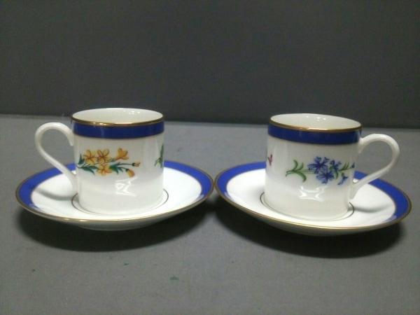 ティファニー カップ&ソーサー新品同様  Floral 白×ネイビー×マルチ 陶器