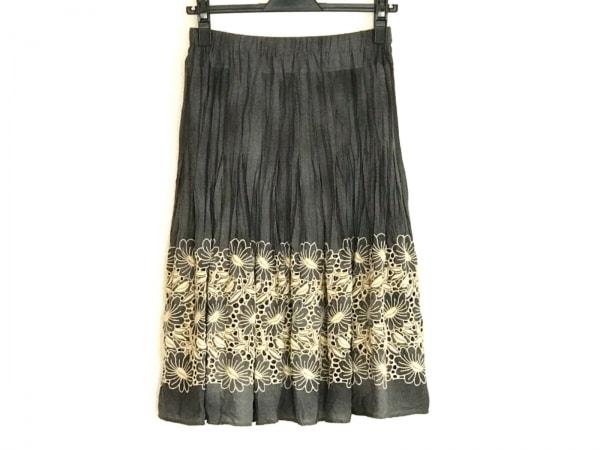 ヒロコビス スカート サイズ9 M レディース美品  ダークグレー×アイボリー