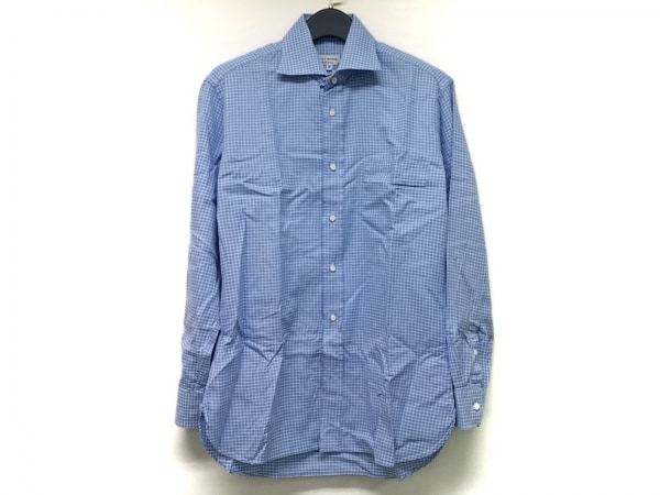 Guy Rover(ギローバー) 長袖シャツ サイズ38/15 メンズ ブルー×白 チェック柄