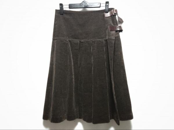 イントゥーカ 巻きスカート サイズF レディース ダークグリーン コーデュロイ