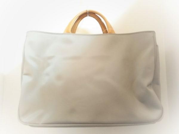 LAZY SUSAN(レイジースーザン) ハンドバッグ美品  グレー×ブラウン ナイロン×レザー