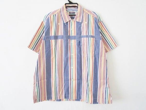 ナイジェルケーボン 半袖シャツ サイズ2 M メンズ ブルー×レッド×マルチ ストライプ