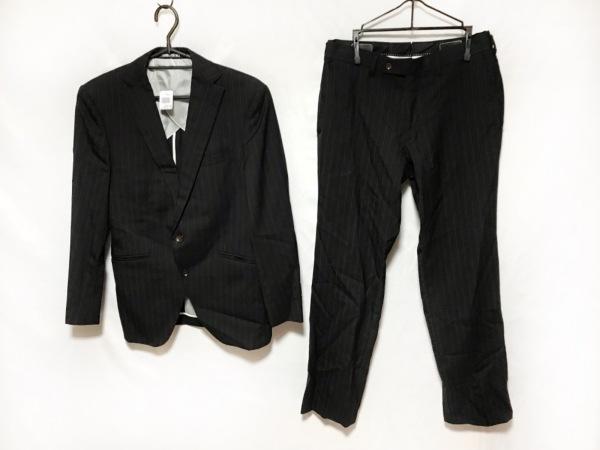 PERSON'S(パーソンズ) シングルスーツ メンズ 黒×ダークグレー ストライプ