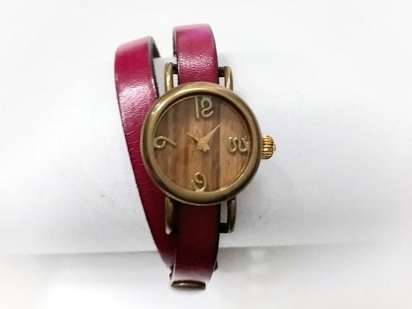 vie(ヴィー) 腕時計 - レディース 社外革ベルト ブラウン×ダークブラウン