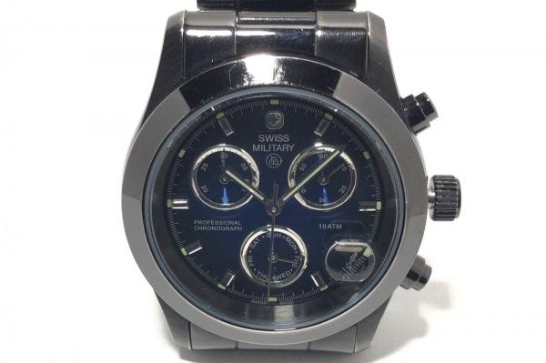 SWISS MILITARY(スイスミリタリー) 腕時計 HANOWA 6-5073 メンズ クロノグラフ 黒