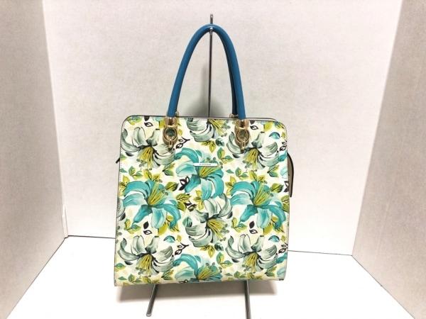 DISSONA(ディソーナ) ハンドバッグ新品同様  アイボリー×ライトブルー×マルチ 花柄