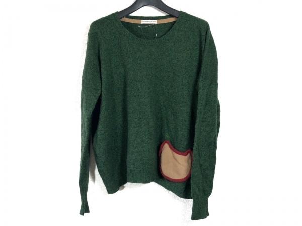 ツモリチサト 長袖セーター レディース グリーン×レッド×ライトブラウン