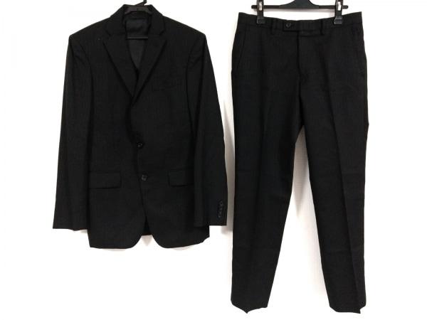 エービーエックス シングルスーツ サイズ2 M メンズ 黒×グレー 肩パッド/ストライプ