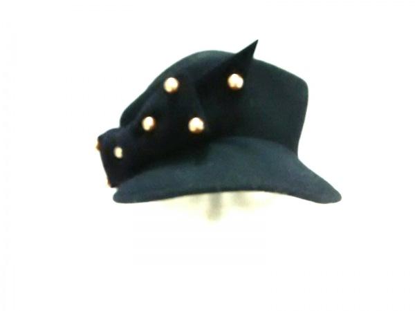 misaharada(ミサハラダ) 帽子美品  黒 リボン/フェイクパール ウール