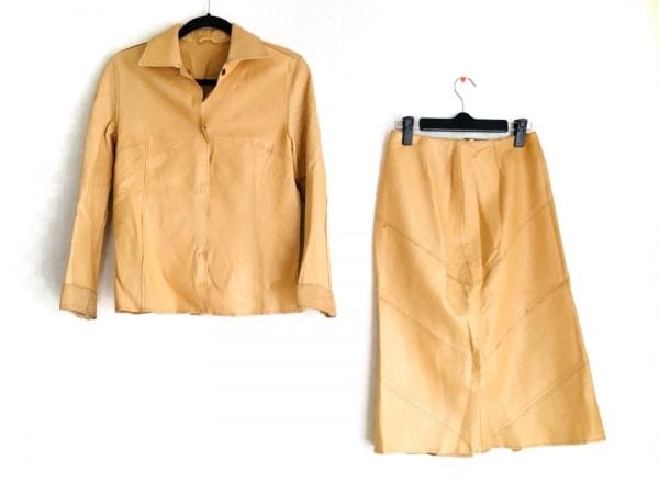 MELROSE(メルローズ) スカートスーツ サイズ4 XL レディース イエローベージュ レザー