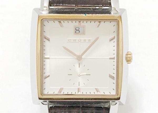 CROSS(クロス.) 腕時計 CR8014 メンズ 型押し革ベルト 白
