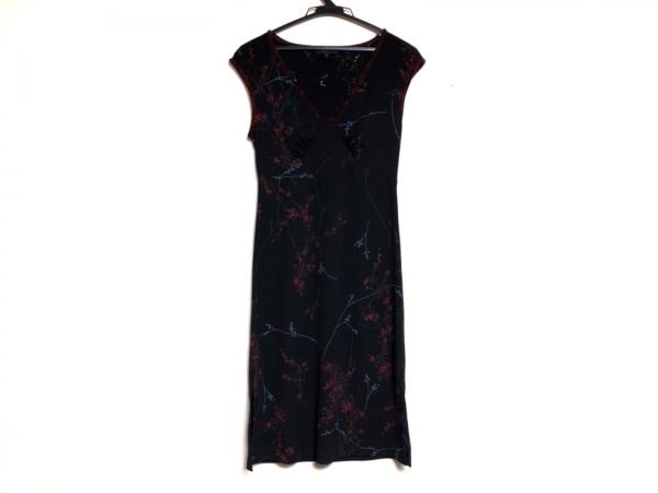 ビーシービージードレス ワンピース サイズS レディース 黒×ボルドー×マルチ 花柄