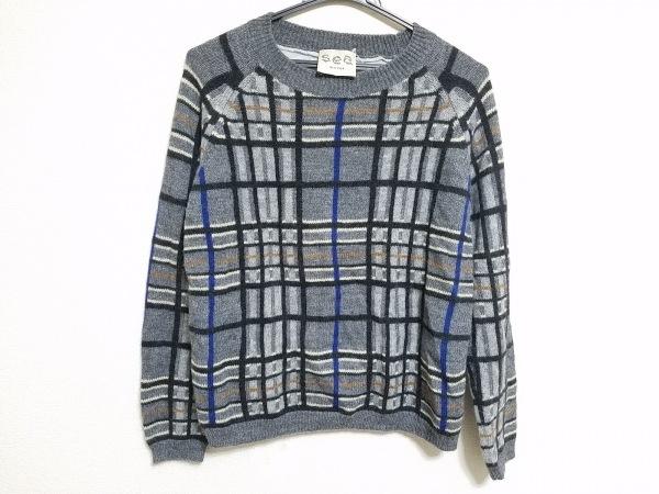 sea(シー) 長袖セーター サイズS レディース グレー×黒×マルチ