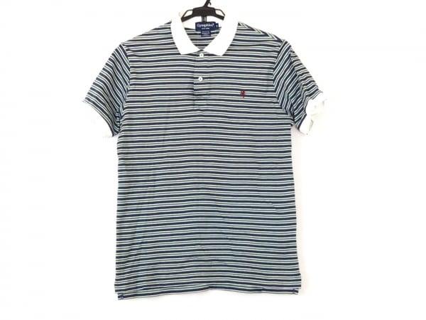 ジムフレックス 半袖ポロシャツ サイズM メンズ ネイビー×グリーン×白 ボーダー