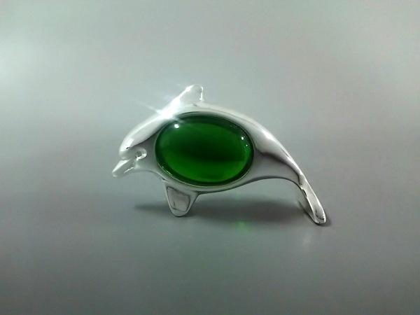 クリストフル 小物美品  シルバー×グリーン 置物/イルカ 金属素材×ガラス