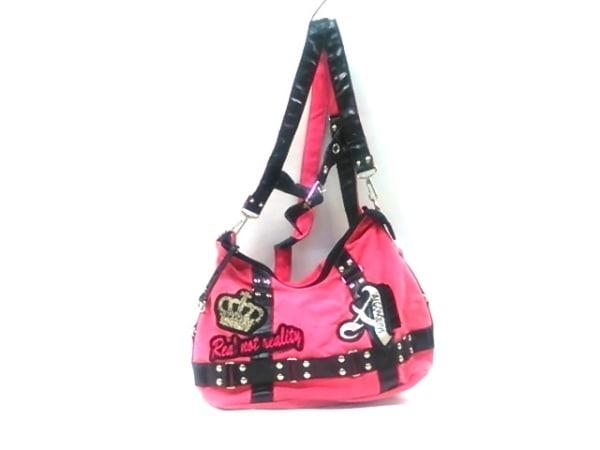 ALGONQUINS(アルゴンキン) リュックサック ピンク×黒×マルチ 刺繍 キャンバス×合皮