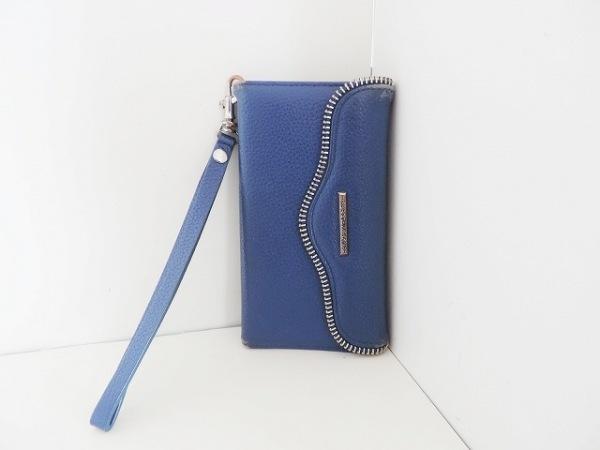 レベッカミンコフ 携帯電話ケース ブルー×シルバー レザー×金属素材