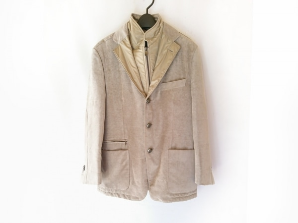 コルネリアーニ ジャケット サイズ48 XL メンズ アイボリー×ベージュ ネーム刺繍