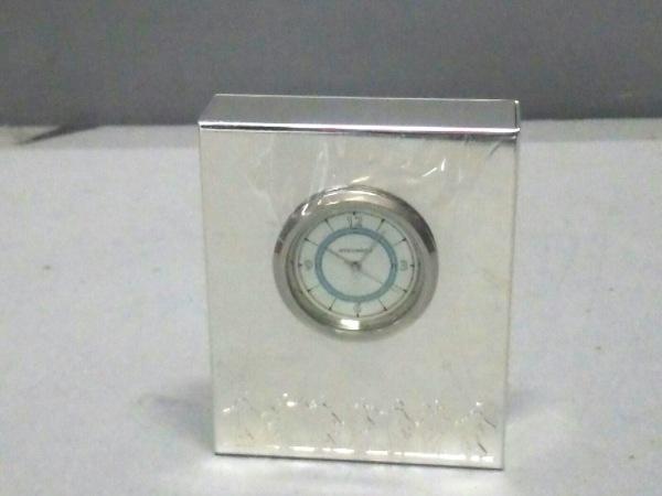 ウェッジウッド 小物新品同様  シルバー×ブルー×白 置時計(動作確認できず)