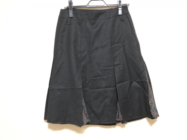 BELSTAFF(ベルスタッフ) スカート サイズ40 M レディース 黒×ダークブラウン×マルチ