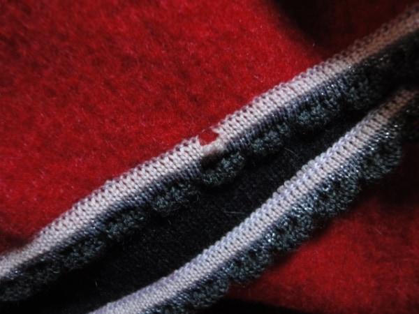 ラモーダゴジ コート サイズ11 M レディース レッド×グレー リボン/冬物