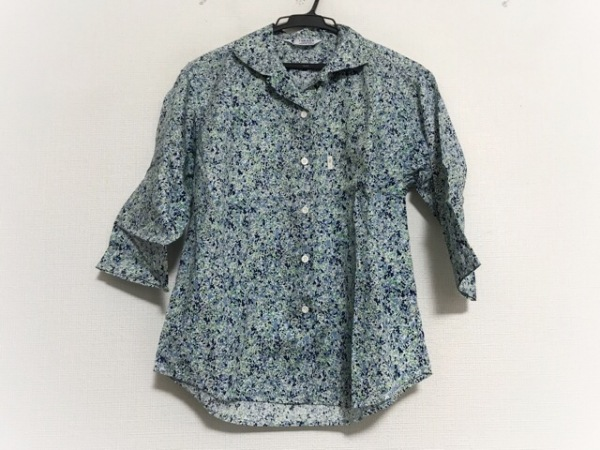 フクゾー 七分袖シャツブラウス サイズL レディース美品  ネイビー×グリーン×マルチ