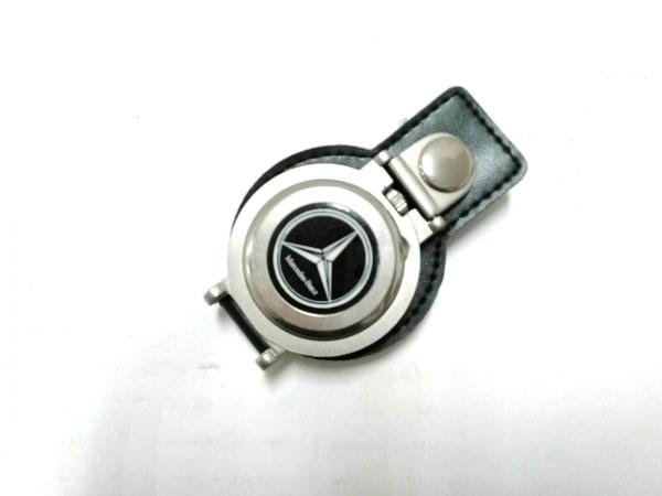 メルセデスベンツ 小物 シルバー×黒 置時計(動作確認できず) 金属素材×レザー