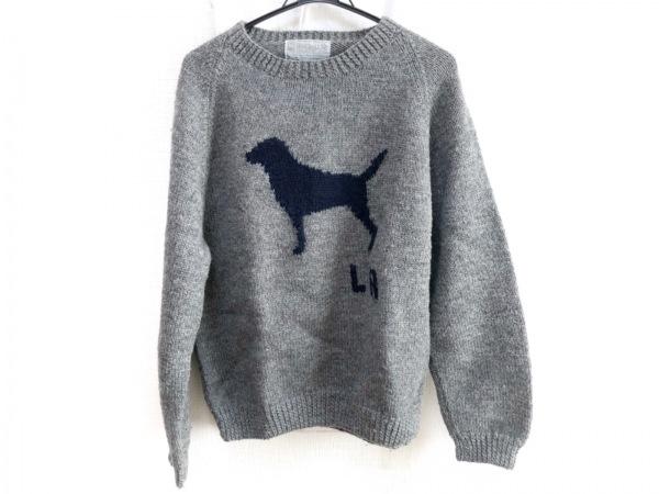 インバーアラン 長袖セーター メンズ グレー×ネイビー Labrador Retriever