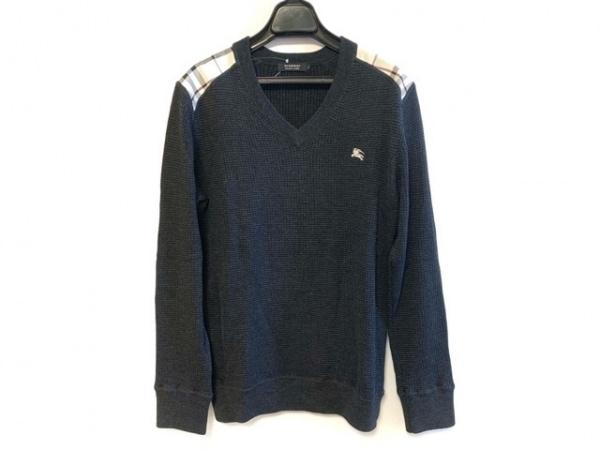 バーバリーブラックレーベル 長袖セーター サイズ2 M メンズ 黒×白×マルチ