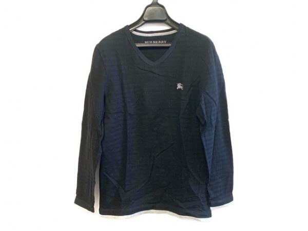 バーバリーブラックレーベル 長袖Tシャツ サイズ2 M メンズ ダークネイビー×グレー