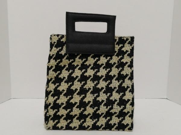 CAMPOMAGGI(カンポマッジ) ハンドバッグ アイボリー×黒 千鳥格子 ウール×化学繊維