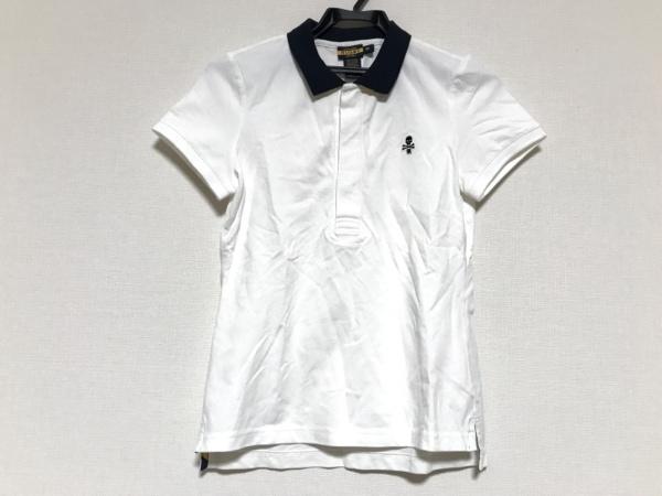 ラルフローレンラグビー 半袖ポロシャツ サイズM レディース美品  白×ダークネイビー