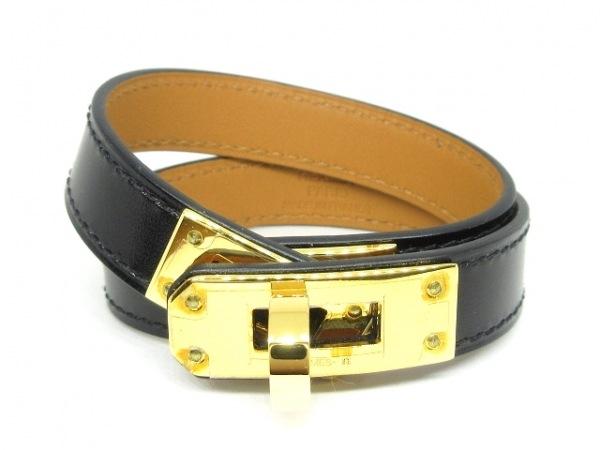 エルメス ブレスレット美品  ケリー レザー×金属素材 黒×ゴールド ゴールド金具