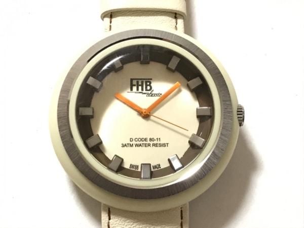 FHB(エフエイチビー) 腕時計美品  F-707 ボーイズ 革ベルト アイボリー