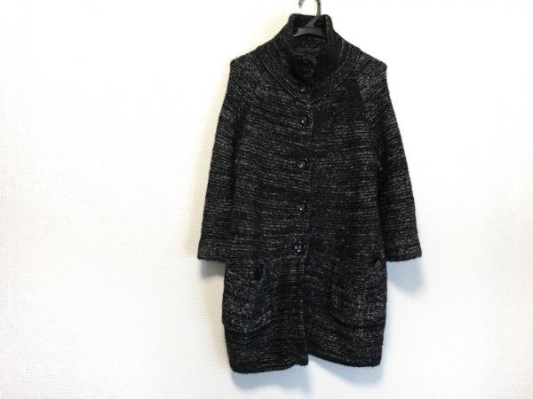 メイソングレイ コート サイズ2 M レディース美品  黒×ライトグレー ニット/冬物