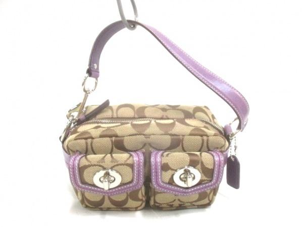 COACH(コーチ) ハンドバッグ シグネチャー柄 - カーキ×パープル ミニサイズ