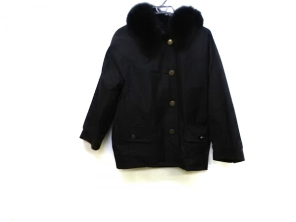 KEMIT(ケミット) コート サイズ38 M レディース 黒 フォックスファー/冬物
