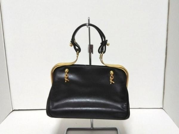 Roberta(ロベルタ) ハンドバッグ 黒×ゴールド レザー×金属素材
