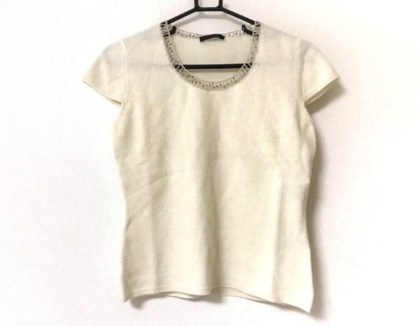 スウィンスウィング 半袖セーター サイズ42 L レディース美品  白×シルバー